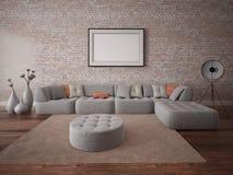 Πλαστό επάνω μοντέρνο καθιστικό με έναν άνετο καναπέ γωνιών στοκ εικόνες