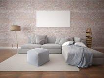 Πλαστό επάνω μοντέρνο καθιστικό με έναν μεγάλο άνετο καναπέ στοκ φωτογραφία με δικαίωμα ελεύθερης χρήσης