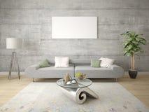 Πλαστό επάνω μοντέρνο καθιστικό με το συμπαγή γκρίζο καναπέ στοκ εικόνες με δικαίωμα ελεύθερης χρήσης