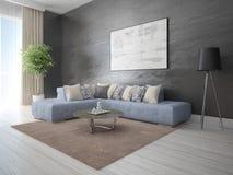 Πλαστό επάνω μοντέρνο σαλόνι με έναν άνετο φωτεινό καναπέ στοκ φωτογραφία