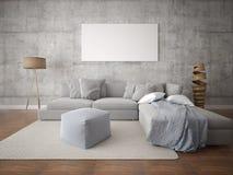 Πλαστό επάνω σύγχρονο καθιστικό με το μεγάλο γκρίζο καναπέ στοκ φωτογραφία με δικαίωμα ελεύθερης χρήσης