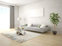 Πλαστό επάνω φωτεινό καθιστικό με έναν άνετο συμπαγή καναπέ στοκ φωτογραφία