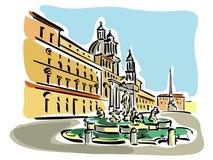 πλατεία Ρώμη navona διανυσματική απεικόνιση