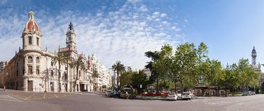Πλατεία της πόλης Plaza del Ayuntamiento στη Βαλένθια, Ισπανία Στοκ εικόνες με δικαίωμα ελεύθερης χρήσης