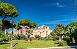 Πλατεία του Federico di Svevia με το SAN Sebastiano Church στην Κατάνια, Ιταλία Στοκ Φωτογραφίες