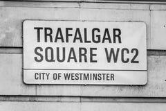 Πλατεία Τραφάλγκαρ σημαδιών οδών WC2 στο Λονδίνο - το ΛΟΝΔΙΝΟ - τη ΜΕΓΑΛΗ ΒΡΕΤΑΝΊΑ - 19 Σεπτεμβρίου 2016 Στοκ φωτογραφία με δικαίωμα ελεύθερης χρήσης