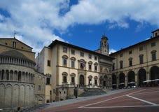 Πλατεία Grande το κύριο τετράγωνο της tuscan πόλης του Αρέζο, Ιταλία Στοκ εικόνα με δικαίωμα ελεύθερης χρήσης