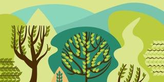 Πλατύφυλλο δέντρων σε ένα επίπεδο ύφος Δάσος άνοιξη με τους λόφους Συντήρηση του περιβάλλοντος, δάση πάρκο, υπαίθριο απεικόνιση αποθεμάτων