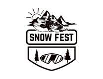 Πλαϊνή ακραία περιπέτεια Πρότυπο εμβλημάτων με το όχημα για το χιόνι Στοιχείο σχεδίου για το λογότυπο, ετικέτα, έμβλημα, σημάδι Στοκ φωτογραφία με δικαίωμα ελεύθερης χρήσης