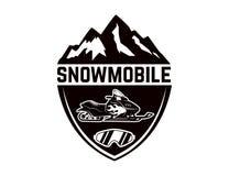 Πλαϊνή ακραία περιπέτεια Πρότυπο εμβλημάτων με το όχημα για το χιόνι Στοιχείο σχεδίου για το λογότυπο, ετικέτα, έμβλημα, σημάδι Στοκ φωτογραφίες με δικαίωμα ελεύθερης χρήσης