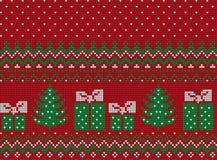 Πλεκτά Χριστούγεννα και νέο σχέδιο έτους Στοκ φωτογραφίες με δικαίωμα ελεύθερης χρήσης