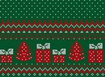 Πλεκτά Χριστούγεννα και νέο σχέδιο έτους Στοκ Φωτογραφίες
