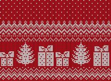 Πλεκτά Χριστούγεννα και νέο σχέδιο έτους διανυσματική απεικόνιση