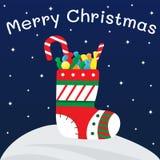 Πλεκτή κάλτσα για τα δώρα με τα γλυκά, καραμέλες, σοκολάτες διανυσματική απεικόνιση