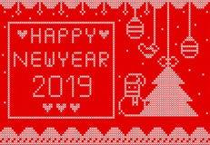 Πλεκτή καλή χρονιά στο κόκκινο σχέδιο υποβάθρου στοκ φωτογραφίες με δικαίωμα ελεύθερης χρήσης