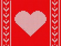 Πλεκτή καρδιά σε ένα κόκκινο υπόβαθρο άνετο πουλόβερ διανυσματική απεικόνιση