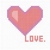 Πλεκτή, κεντημένη καρδιά Κάρτα ημέρας βαλεντίνων ` s καρδιών διάνυσμα διανυσματική απεικόνιση