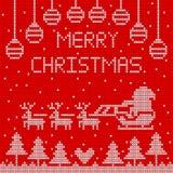Πλεκτή Χαρούμενα Χριστούγεννα στο κόκκινο σχέδιο υποβάθρου στοκ φωτογραφίες