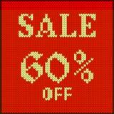 Πλεκτός αριθμός πώληση εξήντα τοις εκατό Στοκ Εικόνες