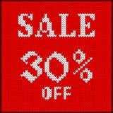 Πλεκτός αριθμός πώληση τριάντα τοις εκατό Στοκ Εικόνα