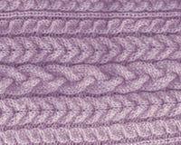 πλεκτός backgroung πορφυρή lavender σύσταση πλέκοντας σχέδιο του μαλλιού στοιχείο καλωδίων Στοκ φωτογραφία με δικαίωμα ελεύθερης χρήσης