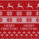 Πλεκτό σχέδιο πουλόβερ Χριστουγέννων με τα deers, fir-trees, snowflakes Υπόβαθρο χειμερινού υφάσματος απεικόνιση αποθεμάτων