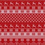 Πλεκτό σχέδιο πουλόβερ Χριστουγέννων με τα deers, fir-trees, snowflakes Υπόβαθρο χειμερινού υφάσματος ελεύθερη απεικόνιση δικαιώματος