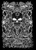 πλεονεξία Η λατινική λέξη Avaritia σημαίνει τη φιλαργυρία Έννοια επτά θανάσιμη αμαρτιών, άσπρη σκιαγραφία στο μαύρο υπόβαθρο διανυσματική απεικόνιση