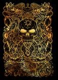 πλεονεξία Η λατινική λέξη Avaritia σημαίνει τη φιλαργυρία Έννοια επτά θανάσιμη αμαρτιών στο μαύρο υπόβαθρο διανυσματική απεικόνιση