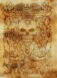 πλεονεξία Η λατινική λέξη Avaritia σημαίνει τη φιλαργυρία Έννοια επτά θανάσιμη αμαρτιών στο παλαιό υπόβαθρο εγγράφου διανυσματική απεικόνιση