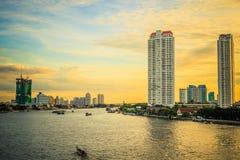 Πλευρές ποταμών της Μπανγκόκ Chao Phraya Στοκ φωτογραφία με δικαίωμα ελεύθερης χρήσης
