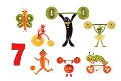 πληθυσμός που μαθαίνει Αριθμοί κινούμενων σχεδίων των λαχανικών και των φρούτων, όπως Στοκ φωτογραφία με δικαίωμα ελεύθερης χρήσης