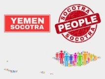 Πληθυσμός Demographics χαρτών αρχιπελαγών Socotra και βρώμικη σφραγίδα διανυσματική απεικόνιση