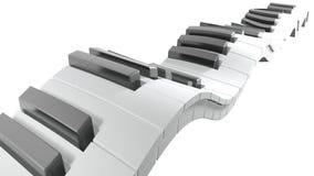 Πληκτρολόγιο ενός πιάνου που κυματίζει στο άσπρο υπόβαθρο - τρισδιάστατη απόδοση φιλμ μικρού μήκους