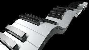 Πληκτρολόγιο ενός πιάνου που κυματίζει στο μαύρο υπόβαθρο - τρισδιάστατη απόδοση φιλμ μικρού μήκους
