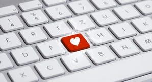 Πληκτρολόγιο με το σημάδι καρδιών Στοκ Εικόνες