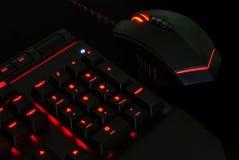 Πληκτρολόγιο τυχερού παιχνιδιού με τα φω'τα και το ποντίκι στοκ εικόνα με δικαίωμα ελεύθερης χρήσης