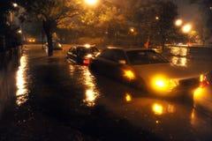 Πλημμυρισμένα αυτοκίνητα, που προκαλούνται από τον τυφώνα αμμώδη στοκ φωτογραφίες