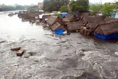 πλημμυρισμένα σπίτια Στοκ εικόνα με δικαίωμα ελεύθερης χρήσης