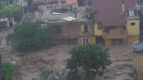 Πλημμύρα βροχής και stor, παγκόσμια αύξηση της θερμοκρασίας λόγω του φαινομένου του θερμοκηπίου απόθεμα βίντεο