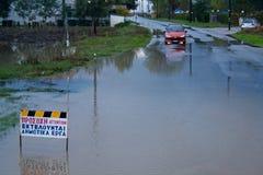 Πλημμύρα στα περίχωρα της πόλης στην Ελλάδα Στοκ Εικόνες