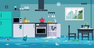 Πλημμύρα στην κουζίνα απεικόνιση αποθεμάτων