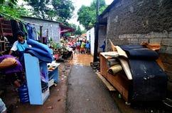 Πλημμύρισε λίγη οδό στην Τζακάρτα στοκ φωτογραφίες