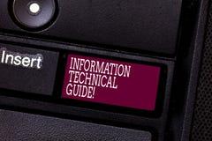 Πληροφορίες κειμένων γραψίματος λέξης τεχνικός οδηγός Επιχειρησιακή έννοια για το έγγραφο που περιέχει τις οδηγίες της λειτουργία στοκ φωτογραφία με δικαίωμα ελεύθερης χρήσης