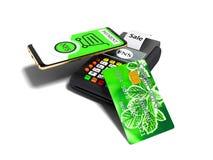 Πληρωμή Nfs τηλεφωνικώς με την πράσινη πιστωτική κάρτα στην κάρτα POS- πληρωμής ελεύθερη απεικόνιση δικαιώματος