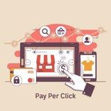 Πληρώστε ανά κρότο, σε απευθείας σύνδεση τραπεζικές εργασίες Έννοια μάρκετινγκ Διαδικτύου Διαφήμιση και μετατροπή της ΔΕΗ επίσης  Στοκ Εικόνες