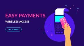 Πληρώστε από την πιστωτική κάρτα wirelessly και την εύκολη επίπεδη διανυσματική απεικόνιση νέου για το σχέδιο Ιστού ui ux διανυσματική απεικόνιση