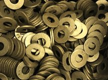 Πλυντήρια, που επεξεργάζονται στη μηχανή, ορείχαλκος/χρυσό χρώμα, γενικός σκοπός στοκ φωτογραφία με δικαίωμα ελεύθερης χρήσης
