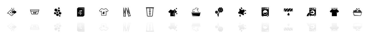 Πλυντήριο - επίπεδα διανυσματικά εικονίδια ελεύθερη απεικόνιση δικαιώματος