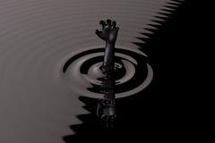 Πνίξιμο στο μαύρο χέρι αργού πετρελαίου για τη βοήθεια ελεύθερη απεικόνιση δικαιώματος